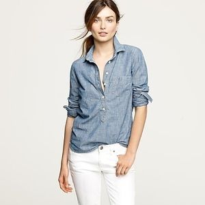J. Crew Chambray Long Sleeve Popover Blouse
